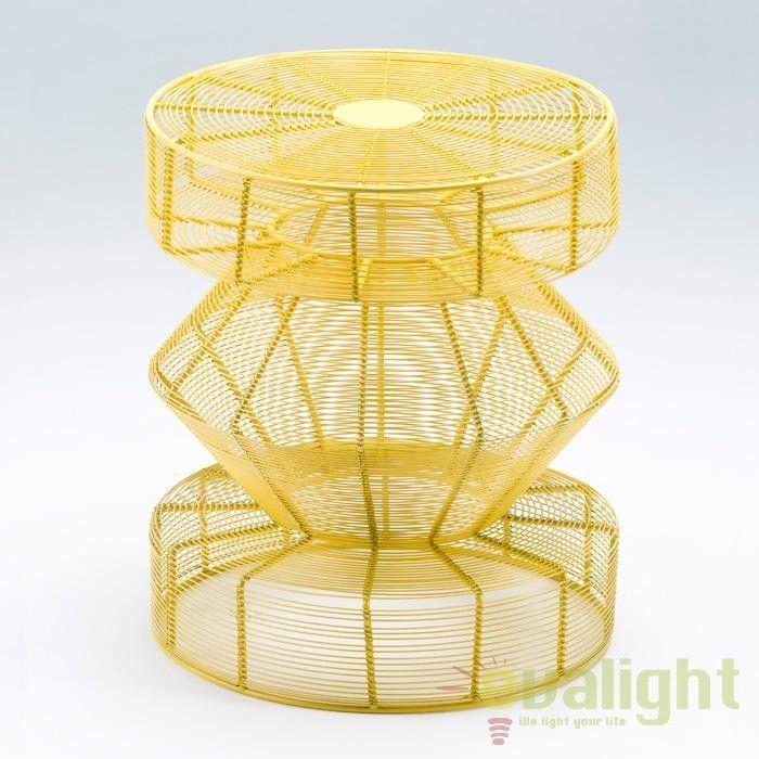 Taburet design modern din sarma galbena Adria 31502/00 TN - Corpuri de iluminat, lustre, aplice