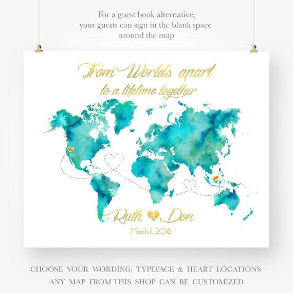Personalized Wedding Map Save The Date Invite Anniversary