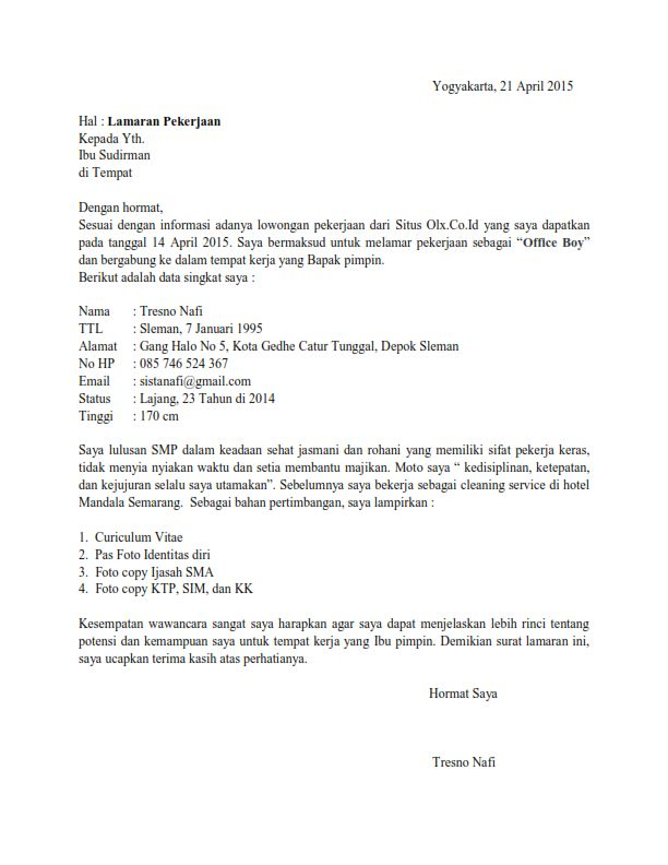 Contoh Surat Lamaran Kerja Lulusan Sma Kerja Belajar Surat