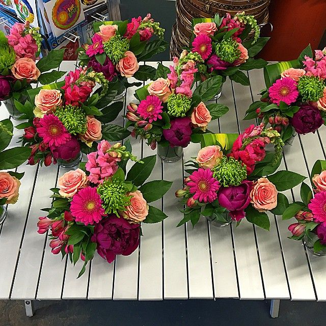 We #LOVE these!  #Pink, #green and #purple- with #gerberas, Fuji mums, #alstroemeria, #snapdragons, #roses and #peonies!