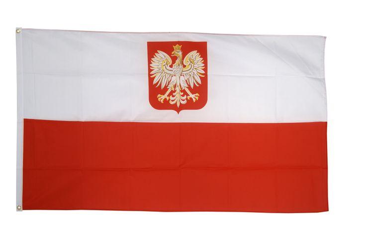 Drapeau Pologne avec aigle - 90 x 150 cm - maison-des-drapeaux.com