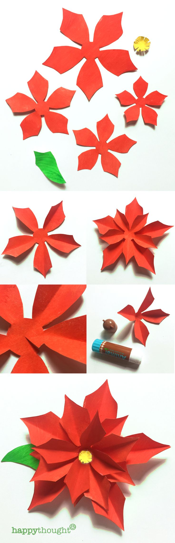 Poinsettia printable template and tutorial at https://happythought.co.uk/product/holiday-craft-activity-printables