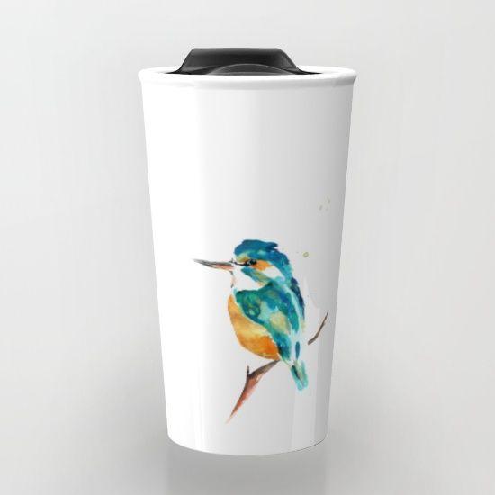 Kingfisher metallic Travel Mug by Art By Chrissy Taylor - $24.00