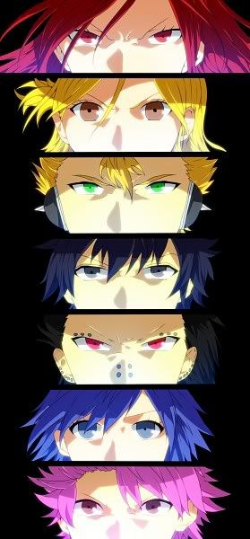 can you name every Fairy Tail character in this photo? i can. let's see: Erza Lucy Laxus Gray Gajeel Juvia Natsu