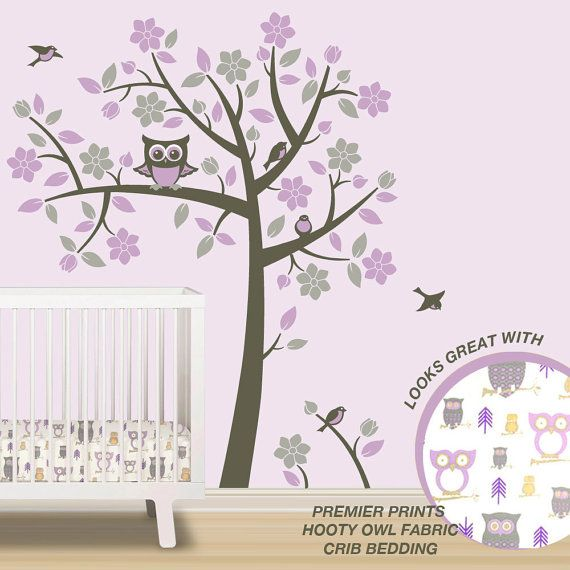 Love this for a little girls room! Owl Tree Wall Decals - Owl Nursery Theme - Tree Wall Decals to match Pink Purple Gray Owl Nursery