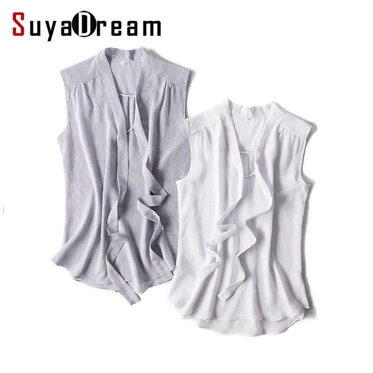 Women Silk Blouse 100% REAL SILK Sleeveless Bow collar chiffon Fashion Striped blouse shirt Blusas femininas 2017 Spring