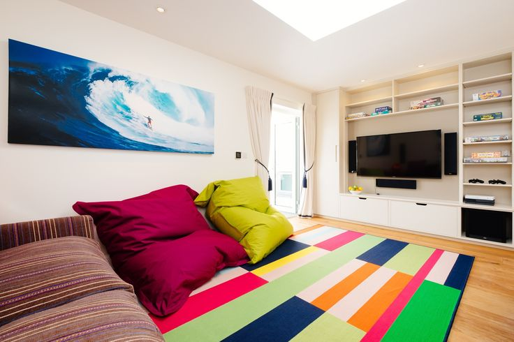 TV Room, Teenagers Den, Tregoose www.juliabluntinteriors.co.uk