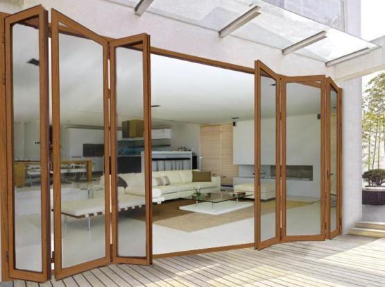 Bi fold glass exterior doors excellent folding wall for Exterior sliding glass wall system