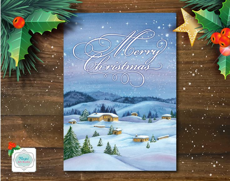 Christmas Greeting Card Printable, Merry Christmas Card, Watercolor Snowy Winter Landscape Print, Holiday Decor Art, Happy Holidays Card by NopiArtStudio on Etsy