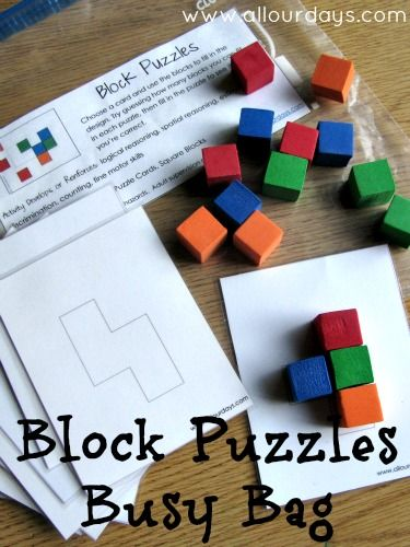 Block Puzzles Busy Bag (31 Days of Busy Bags & Quiet Time Activities @ AllOurDays.com) using blocks from Dollar Tree