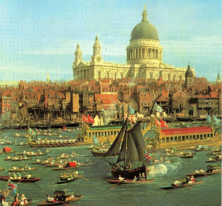 The artist's impression of the Queen's Diamond Jubilee flotilla recalls Canaletto's famous painting, River Thames with St. Paul's Cathedral on Lord Mayor's Day, c.1747-48