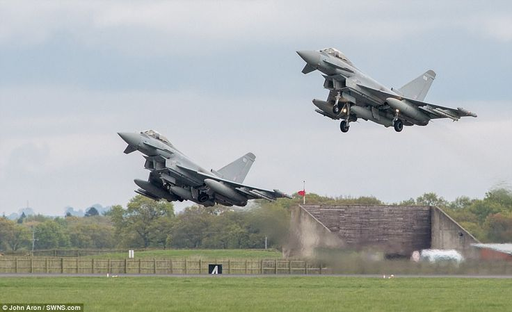 Four Typhoon aircraft left from RAF Coningsby today to begin a deployment to Romania amid mounting tensions with Russia