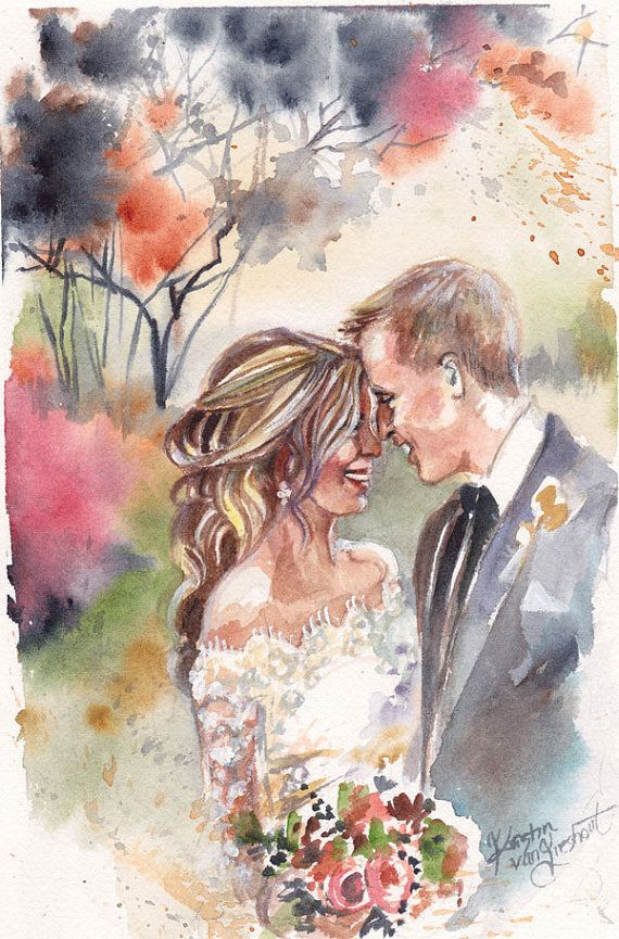 Paper Anniversary Watercolor Portrait: by SimplyArtByKristin