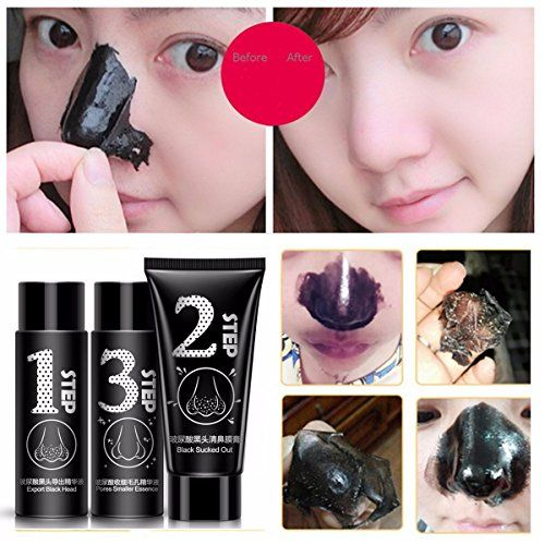 Nose Black Mask LuckyFine Blackhead Acne Removal Nasal Membrane Care Set including Hyaluronic Acid Essence Liquid Activated Carbon Cream ** You can get more details by clicking on the image.