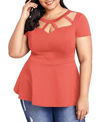 Lalagen Women Plus Size Short Sleeve Flare Peplum Blouse … www.amazon.com/…