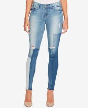 Jessica Simpson Kiss Me Patched Skinny Jeans - Blue 27