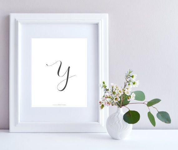 Initial Y art print  Initial Print by LillyCreationJewelry on Etsy
