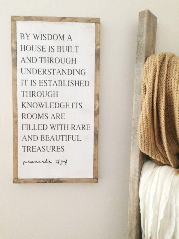 12x24 Proverbs 24:3-4  | Rustic Decor | Hand Painted Wood Sign | Farmhouse decor | Fixer Upper | Home Decor | Farm Collection | housewarming