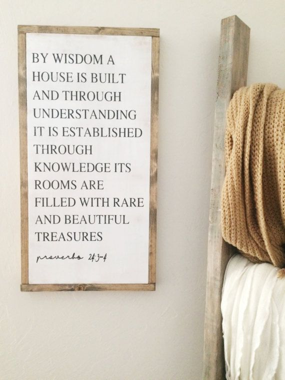 12x24 Proverbs 24:3-4  | Rustic Decor | Hand Painted Wood Sign | Farmhouse decor | Fixer Upper | Home Decor | Farm Collection | housewarming