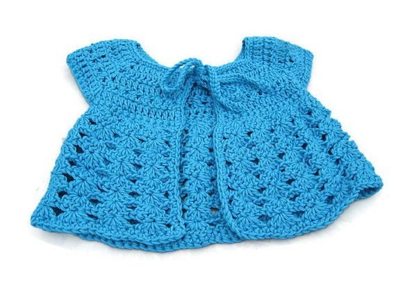 Baby Sweater in Crochet - Blue Sleeveless Cardigan - Handmade by Amanda Jane in Ireland