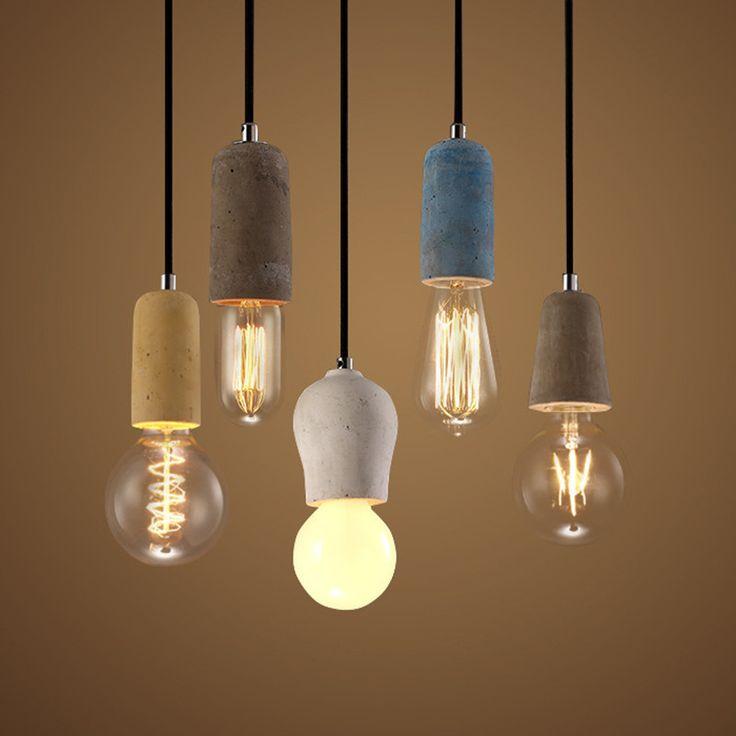 Творческий краткая красочные Бетона, одна голова кулон лампа для чтения столовая E27 90 265 В 1373купить в магазине Y3 lighting StoreнаAliExpress