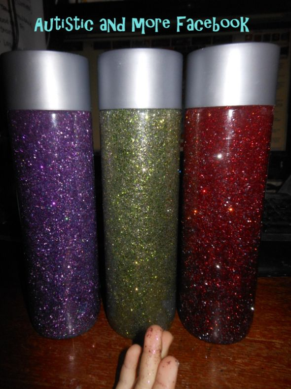 Time Out or Calm Down Bottle (Glitter Bottle) for Zays Stress Box | Autistic and More Blog Therapy