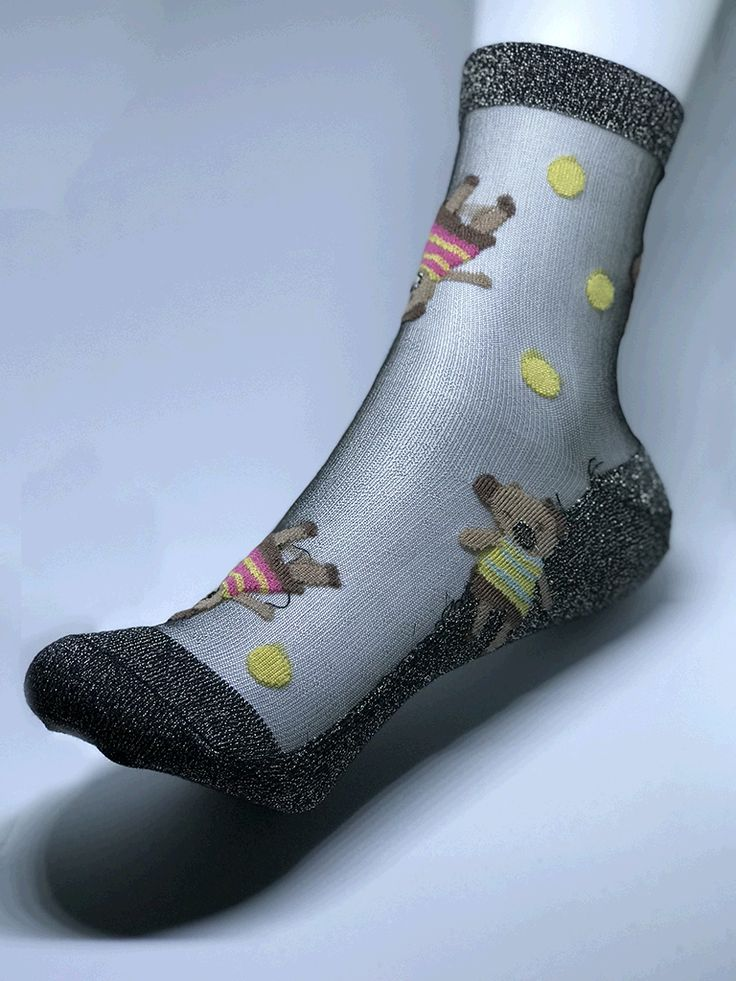Women silver toes and ankle trim with premium cotton bottom sock. Scattered delicate baby bears.
