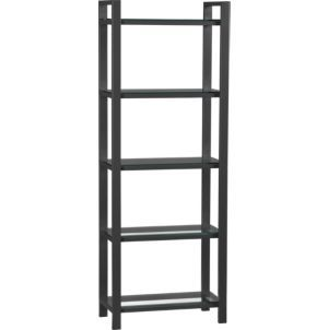 This International Style bookcase is made out of almost all steel, but the shelves are glass.