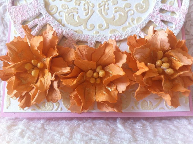 hand made flowers on mix media card