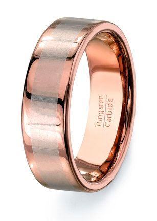 find this pin and more on all that glitters gold rare rose solid tungsten ring mens wedding band
