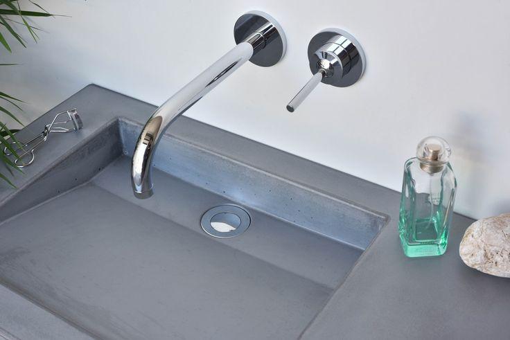 Concrete washbasin Gravelli Slant 07 Double in grey variant