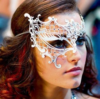 White Phantom Half Venetian Masquerade Mask with by EliteCrafting,