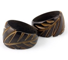 organic rings made from coconut, wood, shell or bone