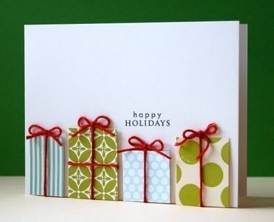 Holiday card idea - use old wrapping paper squares to make presents.