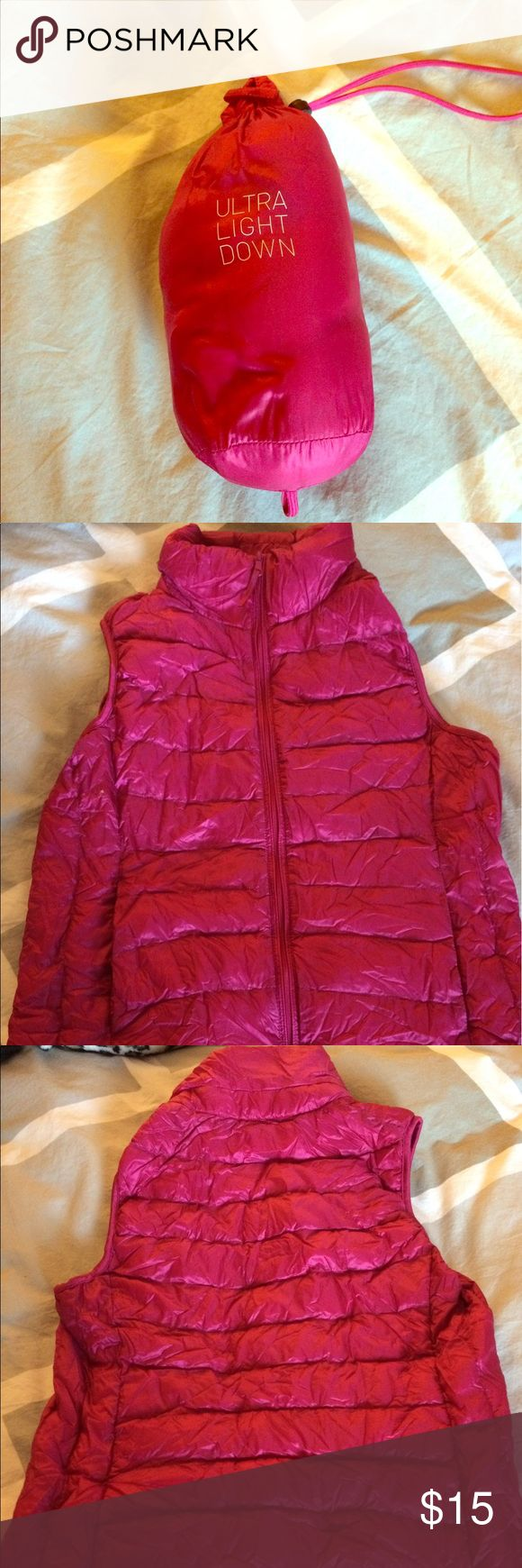 Uniqlo Ulta Light Down Vest Down vest. Throw it in your bag for a warm layer if temp changes. Great for hiking or travel. Weighs almost nothing & packs down into its small stuff sack. Uniqlo knows what they're doing when it comes to down. I own two of these. Uniqlo Jackets & Coats Vests