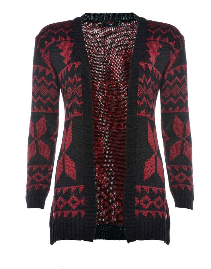 LONDON HUB | Oversized Aztec Cardigan in Wine - - Style36