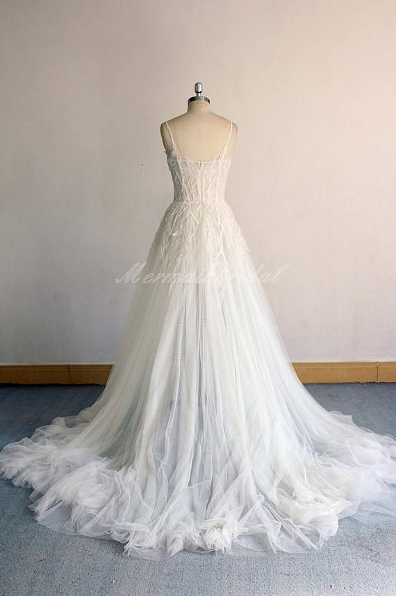 914ca67fc337d High Fashion Flowy Ivory Aline Corset top Wedding Dress, Bohemian Weddig  dress with Spaghetti straps and Unique lace patterns Please kindly noted  that the ...