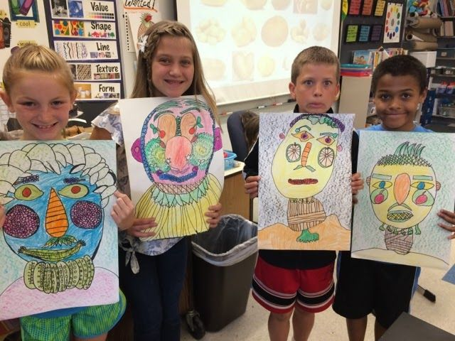 Jamestown Elementary Art Blog: Fourth grade Giuseppe arcimboldo fruit and vegetable portrait