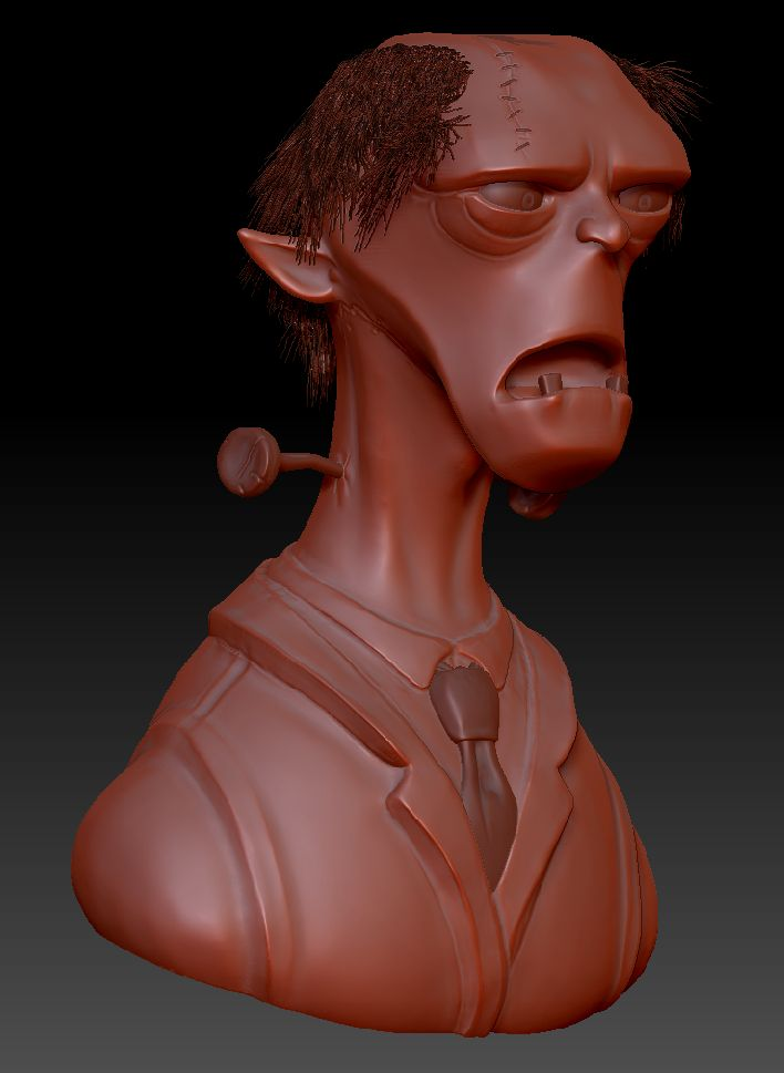 Franky's monster modelled from a concept drawing by John Nevarez