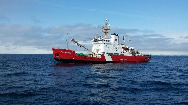 Photo of the CCGS Ann Harvey taken at 3 p.m. local time, April 1, 2015. Photo: JTF Atlantic A Canadian Coast Guard buoy tender is taking on water after running aground off the southern coast of Newfoundland.  Joint Task Force Atlantic reports that it has sent two Canadian Coast Guard ships – CCGS Louis S. St-Laurent and CCGS Teleost – and three helicopters to assist the CCGS Ann Harvey, which was taking on water after running aground near Burgeo, NL.  The rescue is being coordinated by JRCC…