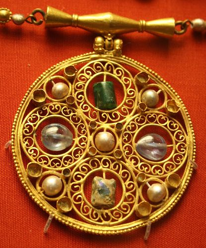 Detail of Anglo-Saxon necklace in the British Museum by meganknight, via Flickr