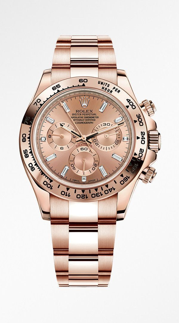 Rolex Cosmograph Daytona in 18ct Everose gold with a pink dial and diamond-set hour markers. #goldwatch