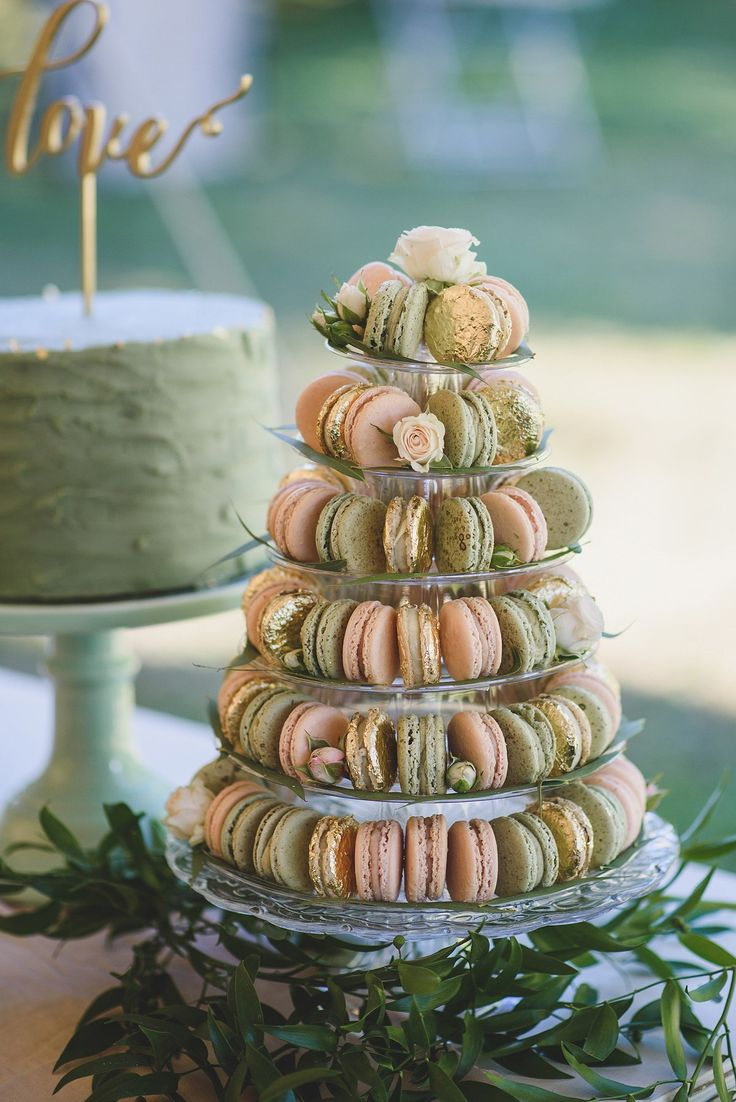 Pink, sage and gold leaf macarons. Photography by Rik Pennington.