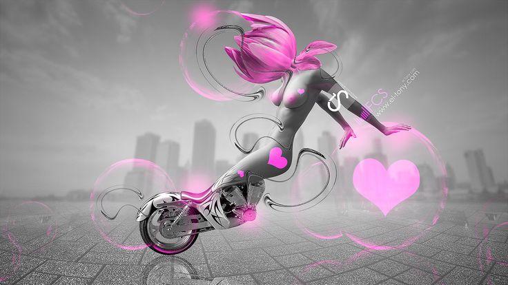 Perfect Moto Fantasy Style Erotic Girl 2013 Pink Flower