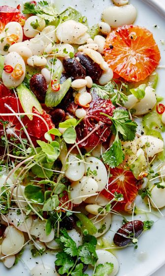 Blood Orange and Mixed Bean Salad with Sprouts recipe  - This would make a great dinner party first course.