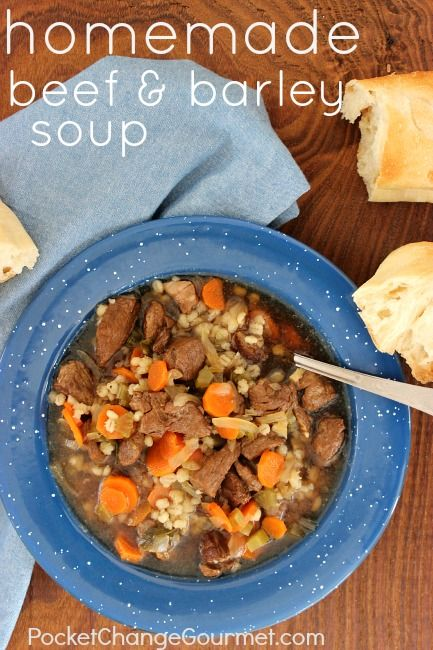 A heart, delicious soup that is packed with flavor. Homemade Beef and Barley Soup :: Recipe on PocketChangeGourmet.com