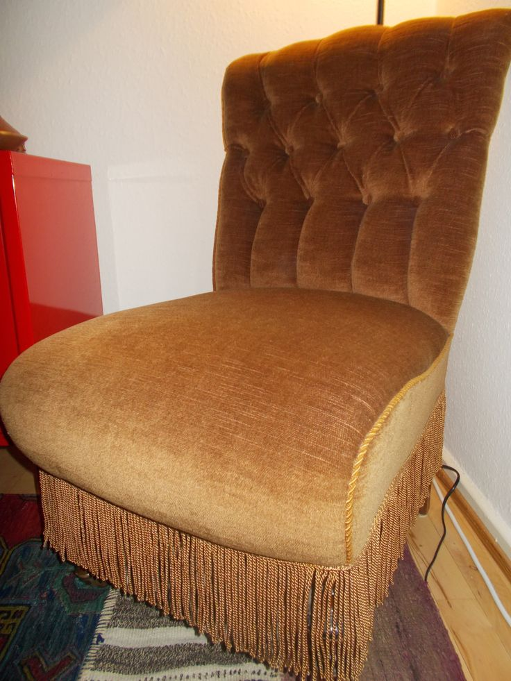 Newly upholstered Victorian nursing chair. Easy to roll around when you have guests, with the small wheels on the front chair legs.