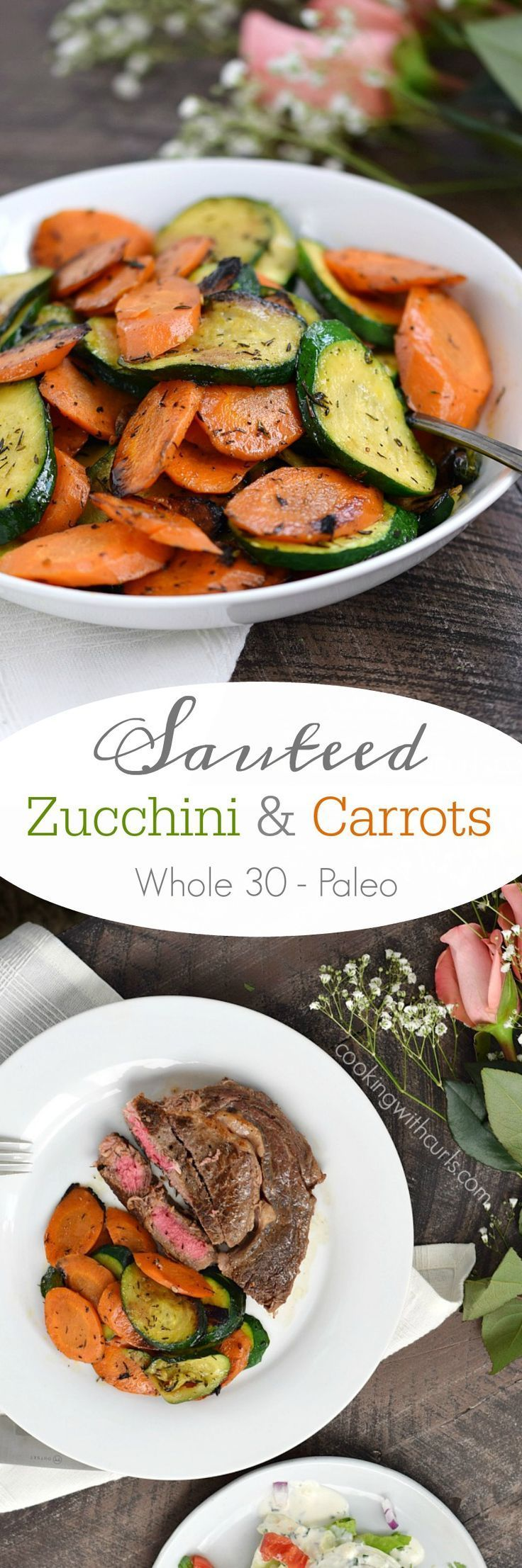 These Sauteed Zucchini and Carrots are super easy to prepare, and make the perfect side dish along side seafood, steaks, and chicken | http://cookingwithcurls.com