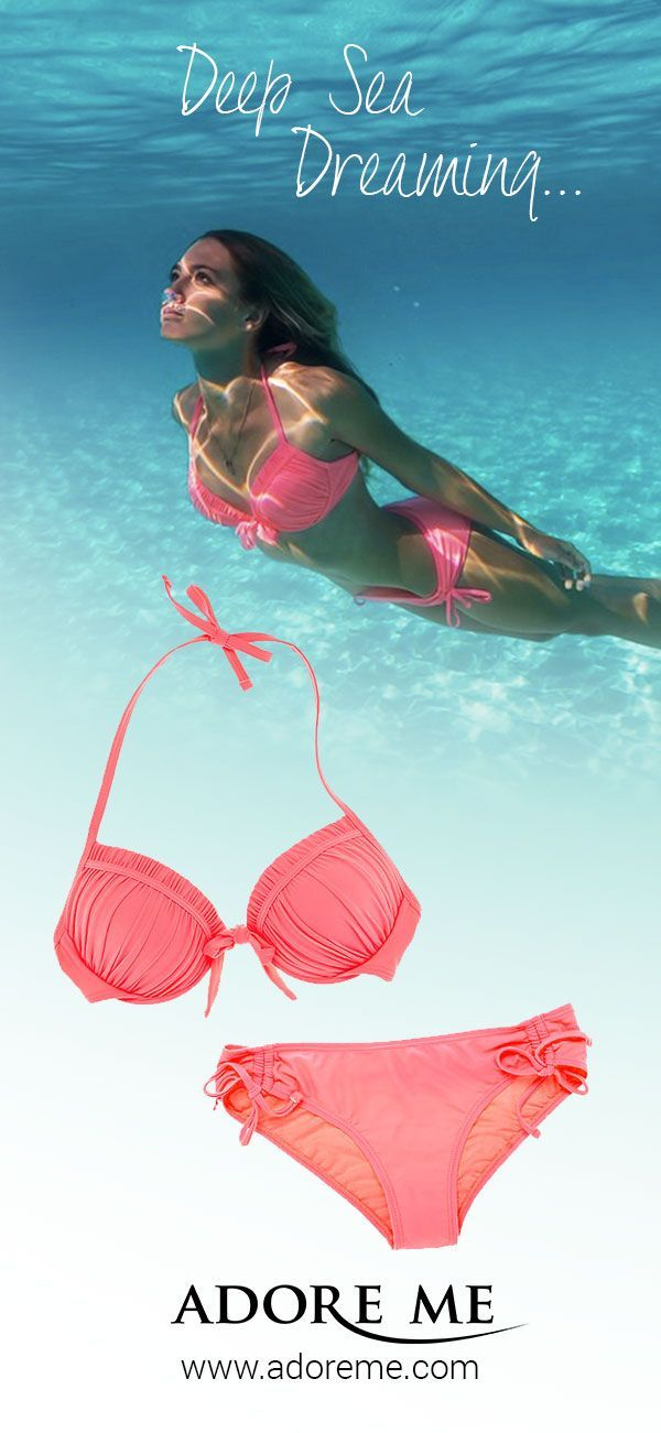 We're deep sea dreaming in the new Cordelia bikini -- a fresh coral push up perfect for a tropical getaway or hanging out poolside. This electirc coral hue looks great on all skin tones, with or without a tan ;) We love the way it looks worn with a sheer white cover up for an added pop of color. It's available in sizes XS to XL, and you can get this or any other swimwear set for 50% off now through 4/30/2015 at Adore Me <3 (Offer valid 5/1/2015-6/30/2015)