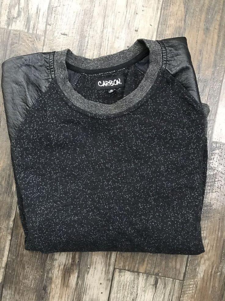Mens Carbon Faux Leather Sweatshirt fashion clothing
